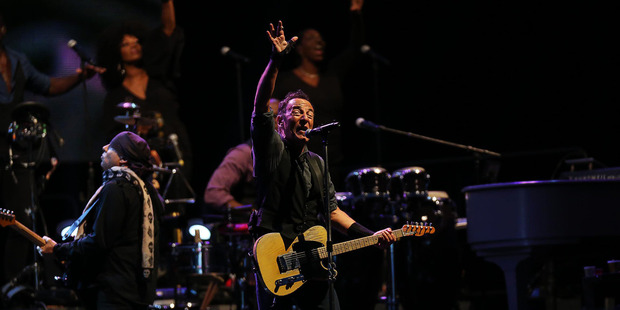 Bruce Springsteen playing Mount Smart Stadium during his last visit in 2014. Photo / Chris Loufte