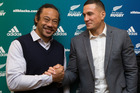 Blues coach Tana Umaga with Sonny Bill Williams (right). Photo / Brett Phibbs