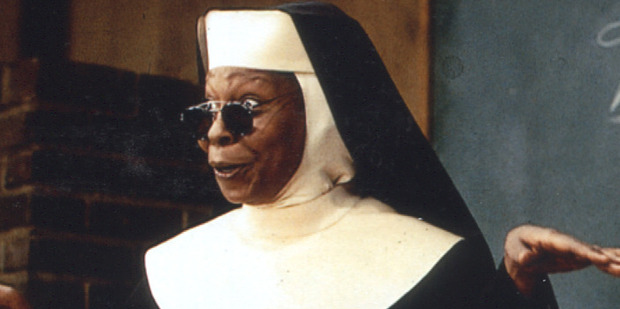 Whoopi Goldberg has no eyebrows in the film Sister Act 2.