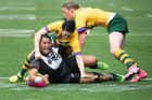 Kiwi Ferns Maitua Feterika scores a try against the Australia Jillaroos. Photo / Brett Phibbs