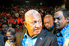 Fiji's Prime Minister Frank Bainimarama campaigns for expat Fijian voters in Auckland in 2014. PHOTO/ Michael Craig