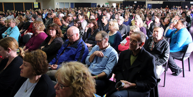 "Teachers have attended meetings across the country this month to oppose the Government's ""global budget"" funding proposal. Wanganui Chronicle Photograph by Stuart Munro."