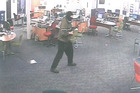 CCTV image of the armed attack on the WINZ office in Ashburton. Photo / Supplied