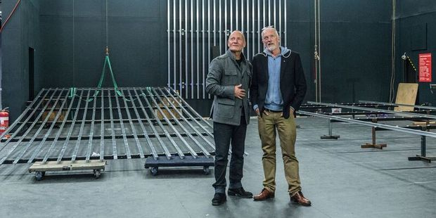 ATC founder Simon Prast and current artistic director Colin McColl on the new stage.