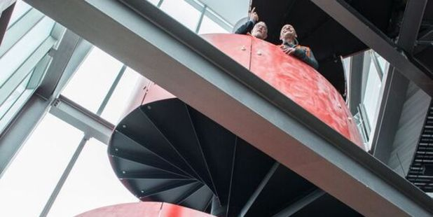 A spiral staircase is one of the stand-out features of the Waterfront Theatre.