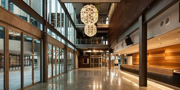 The Waterfront Theatre is glass cladded, making it easier for the public to see what goes on behind closed doors. The main entrance also features David Trubridge light features.