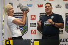 Super model Kylie Bax with Mal Meninga. Photo / Doug Sherring