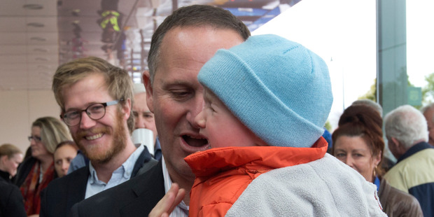 Never work with babies - as John Key have discovered. Photo / Mark Mitchell