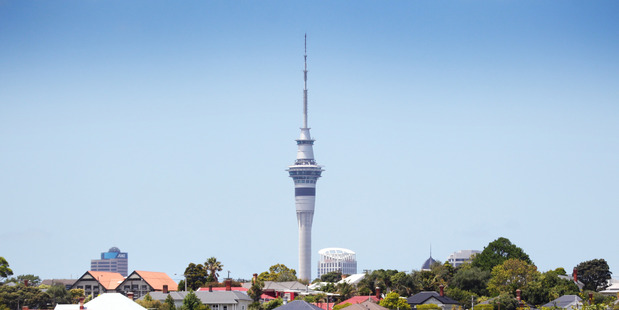 "Local business and community leaders are set to plummet 192 metres from the top of Auckland's Sky Tower for the second annual ""Drop Your Boss"" fundraising challenge in Auckland. Photo: Doug Sherring"