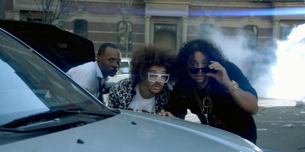 SkyBlu and Redfoo in 2008 in a scene from their music video Party Rock Anthem.
