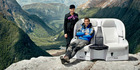 Bear Grylls is pictured in the Southern Alps in an Air NZ safety video.