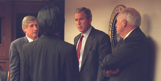 George W Bush with Vice President Dick Cheney and senior staff in the President's Emergency Operations Center in the White House on September 11, 2001. Photo / Supplied