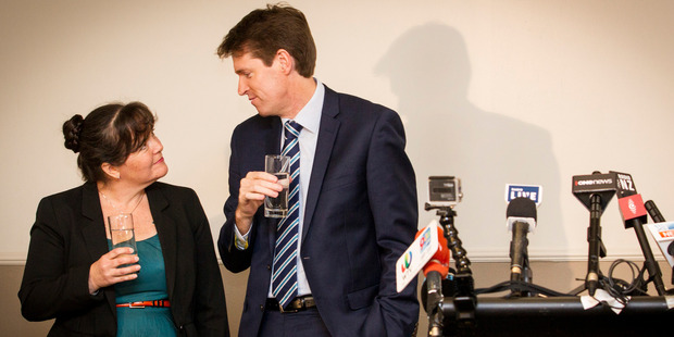 Colin Craig and his wife Helen in the lead up to a press conference announcing Mr Craig will be seeking compensation. Photo / Dean Purcell