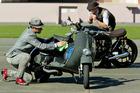 Jason Lake and Mark Dekker with their vintage motorbikes. Photo / Warren Buckland