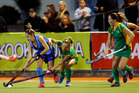 Northland women (in green) in action at the National Hockey League playoffs in Whangarei. PHOTO/NZME.