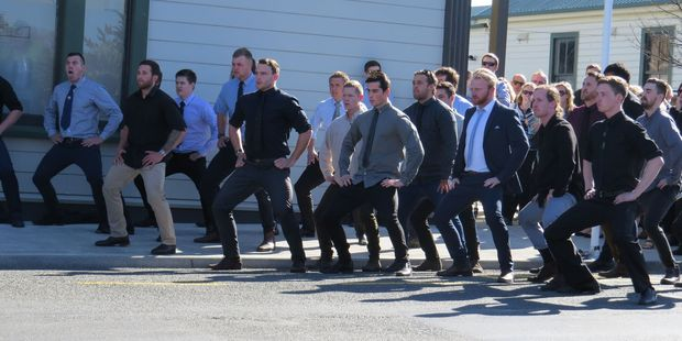 Mike Lewis' son, Hamish Lewis, was joined by his friends, as they performed a haka outside the CHB Municipal Theatre after the ceremony.