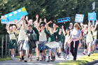 A group of students  from Havelock North Intermediate School walked from their school to Civic Square in Hastings for water. Photo / Duncan Brown