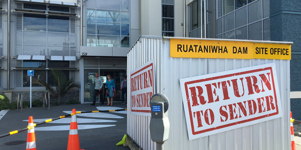 Greenpeace uplifted the site office of the proposed Ruataniwha Dam and delivered it to the Hawke's Bay Regional Council offices in Napier. Photo by Annette Hilton.