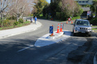 The new islands that have been put on Joll Rd as part of the council's safety improvements. Photo / Mark Story