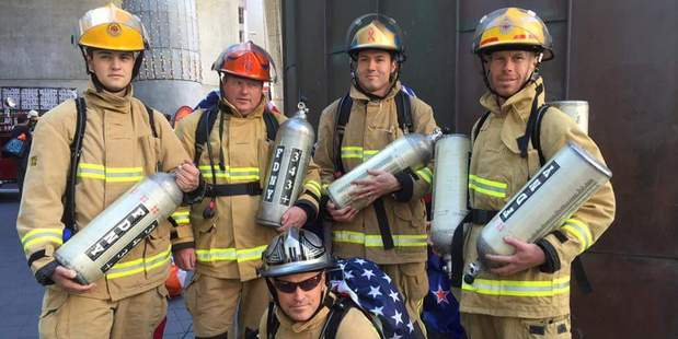 HONOUR: A group of firefighters from Ngongotaha joined comrades from around the world to remember 9/11. PHOTO/SUPPLIED