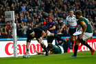 New Zealand's Jerome Kaino dives to score a try at the Rugby World Cup Semi Final, South Africa v New Zealand All Blacks, Twickenham Stadium, London, England. Photo / Paul Thomas - photosport.co.nz