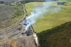 An aerial view of Monday's fire at Te Kao, a timely reminder regarding how quickly flames can spread. Photo / Northern Rural Fire Authority