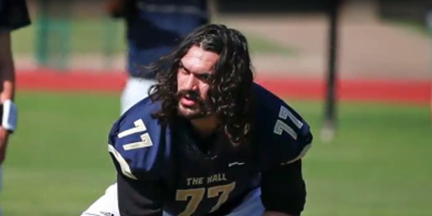 """Steven Adams admitted he's a """"rugby guy"""" but that didn't stop him from invading a high profile American gridiron training session. Photo / Youtube."""