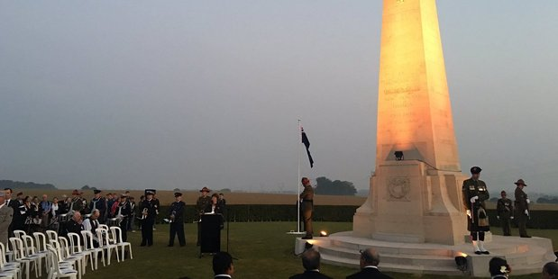 Loading About 250 people surround the New Zealand battlefield memorial for the dawn service. Photo / Kieran Campbell