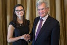 Tessa Morgan with chairman of the Woolf Fisher Trust, Sir Noel Robinson.  Photo/Supplied