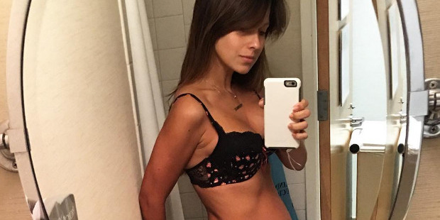 Hilaria Baldwin posted a photo of herself after giving birth. Photo / Instagram