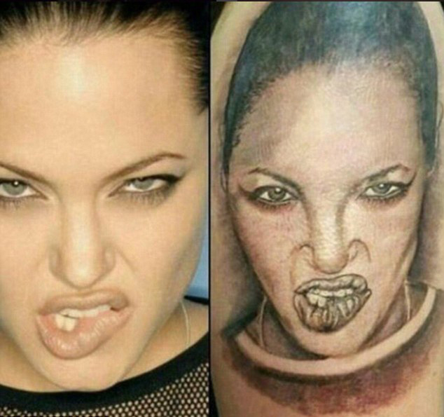 Angelina Jolie has been made to look like something out of a horror film. Photo / s*** tattoos Instagram