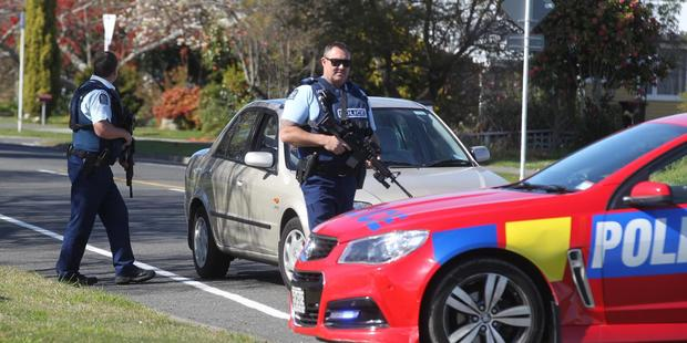 Police have closed off a section of Onekawa bordering William Colenso College in Napier after a possible armed threat incident. PHOTO/DUNCAN BROWN.