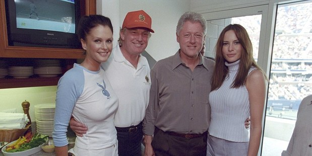 Kiwi model Kylie Bax pictured with her good friend Donald Trump in June 2000 alongside former US president Bill Clinton and Trump's wife, Melania. Photo / Politico-Daily Mail