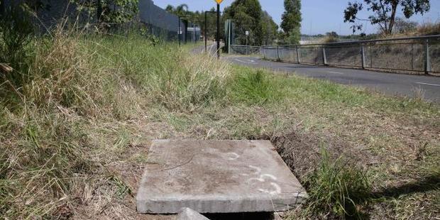 The drain in Sydney's northwest where the woman abandoned her newborn baby boy. Photo / News Corp Australia