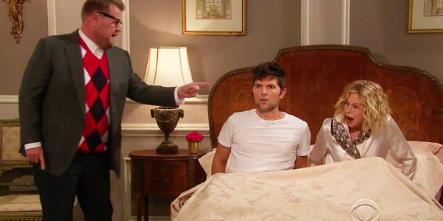 James Corden, Meg Ryan and Adam Scott acted out an epic soap opera scene made entirely from dialogue pulled from Beyonce lyrics. Photo / The Late Late Show with James Corden