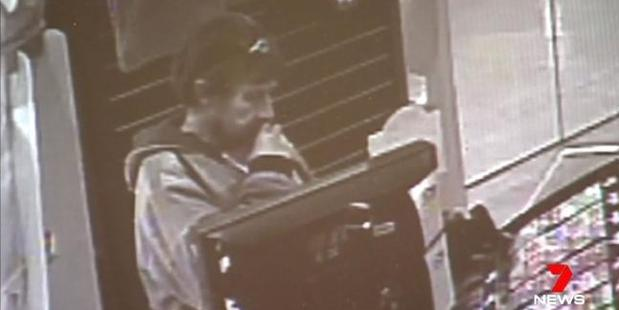 CCTV footage showing Jason Hall allegedly purchasing cigarettes and scratchie's with the stolen credit card of Kay Shaylor. Photo / 7 News