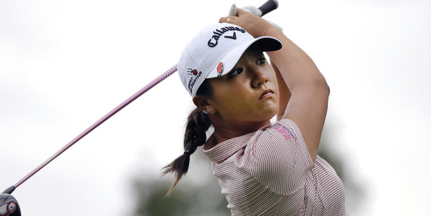 Lydia Ko tees off during her opening round at the Evian Championship. Photo / AP