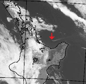 A plume of ash can be seen coming off White Island in the Bay of Plenty, as at 12pm. Photo/NZ MetService satellite image