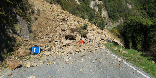 A large slip has closed State highway 6 at Meybille Bay. Photo / Greymouth Star