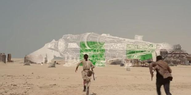 A scene from The Force Awakens shows the technical wizardry behind the movie. Photo / Industrial Light and Magic / Youtube
