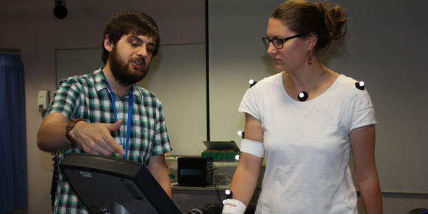 University of Portsmouth researcher Liam Satchell works with a participant in a new study that has drawn a link between walking style and aggression. Photo: University of Portsmouth