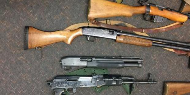 A collection of firearms located by Police. Photo / Supplied