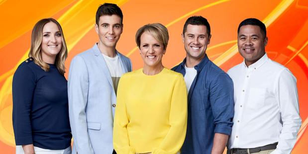 The all-new Breakfast team, Brodie Kane, Jack Tame, Hilary Barry, Sam Wallace and Daniel Faitaua.