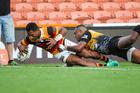 Waikato winger Sevu Reece scores a try against Taranaki. Photo / Photosport