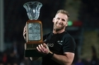 All Blacks captain Kieran Read holds the Freedom Cup after winning against South Africa . Photo/Brett Phibbs