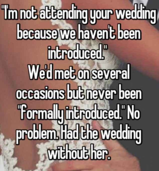 This wife revealed that her mother-in-law had very petty reasons for missing her wedding. Photo / Whisper