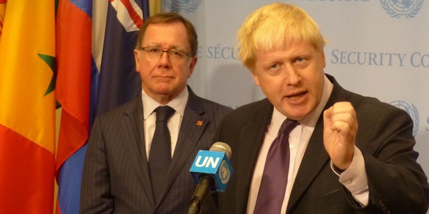Murray McCully and Boris Johnson enjoyed a jovial meeting in New York. Photo / Audrey Young