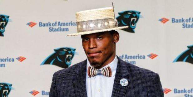 Cam Newton showed up to a press conference yesterday looking like he'd time warped from the 1920s. Photo / Twitter