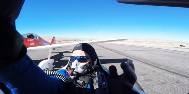 Loading United States stunt pilot Thom Richard is lucky to be alive after another pilot failed to notice his aircraft had stopped on the runway. Photo / YouTube / Thom Richard