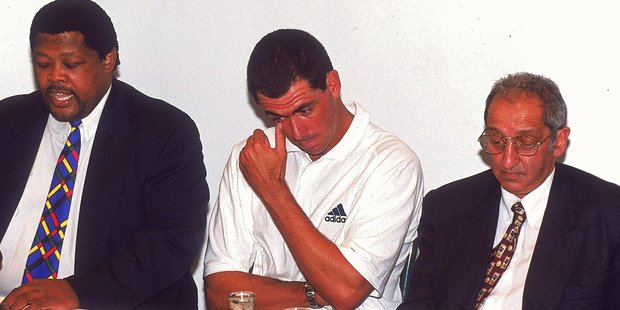 Ngonde Balfour, disgraced South African cricketer Hansie Cronje, and Azia Pahad face the media during the Hansie Cronje Press Conference in 2000. A film about Cronje features in a new fraud-focused film festival. Photo / Tertius Pickard Getty